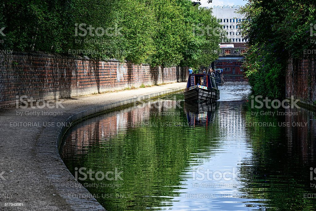 Narrow Boat on Birmingham Canal Old Line stock photo