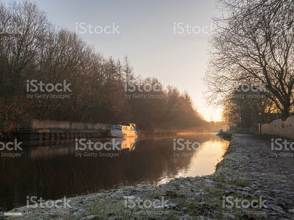 Narrow boat on Leeds Liverpool Canal at Blackburn stock photo