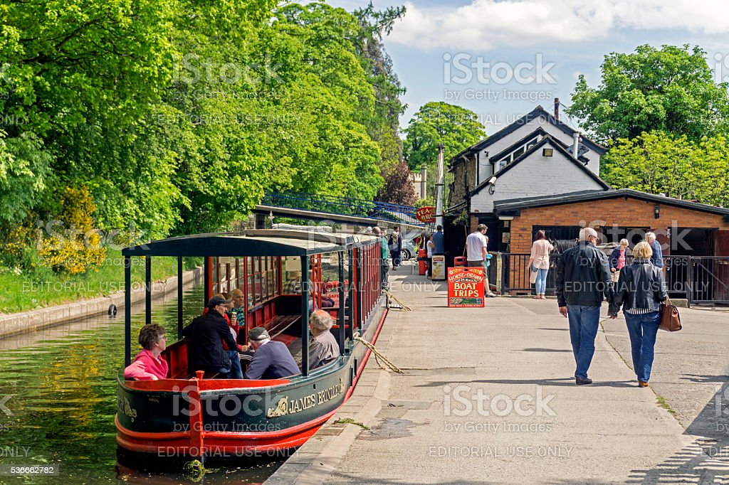 Narrow Boats Llangollen Canal stock photo