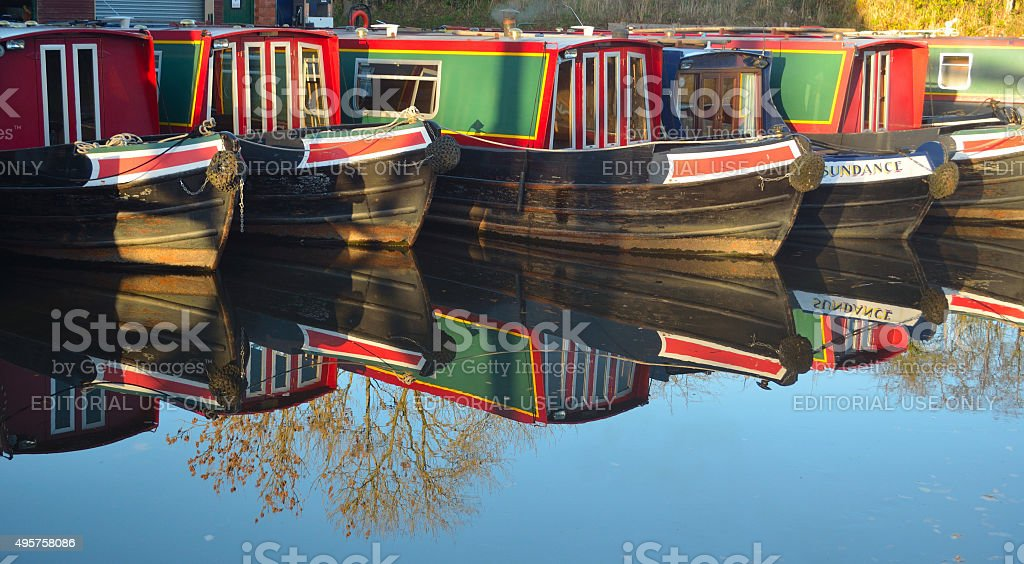 Narrow boats moored at Wrenbury on the Llangollen canal stock photo
