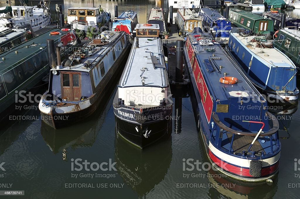Narrow boats moored in Limehouse Basin, London, UK stock photo
