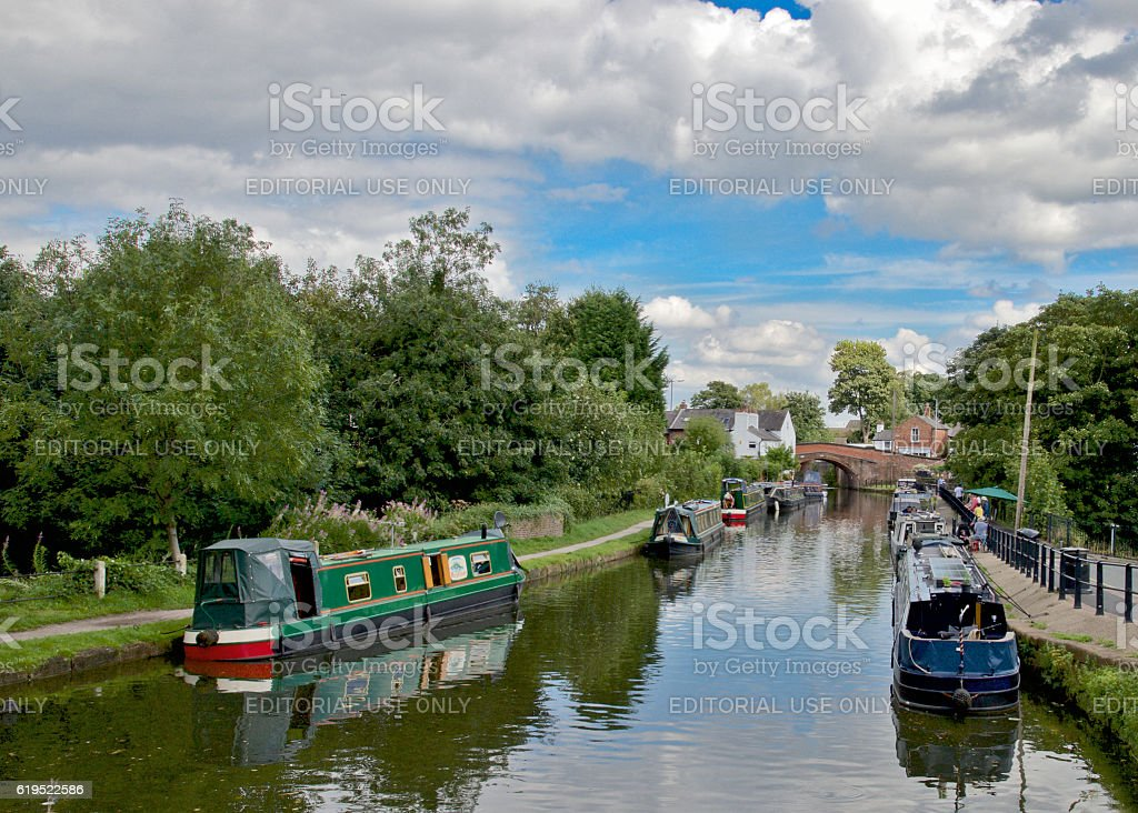 Narrow Boats moored on the Bridgewater Canal stock photo