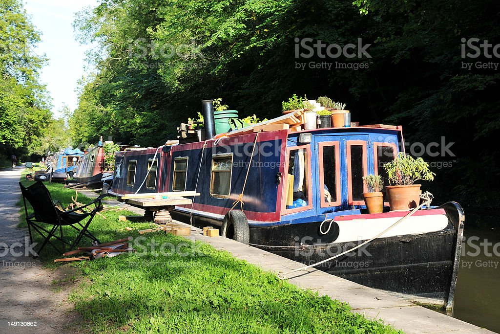 Narrow Boats on a Canal in the Countryside stock photo