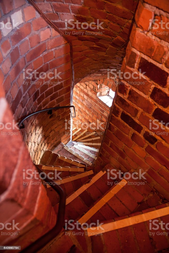 Narrow brick corridors inside the Stockholm's City Hall Tower, Sweden stock photo