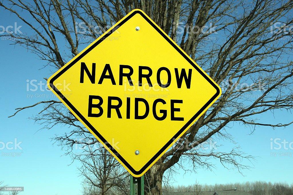 narrow bridge warning sign royalty-free stock photo