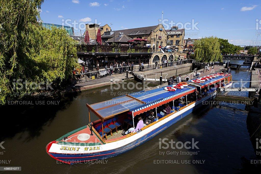 Narrow canal Boat and Camden Lock Market stock photo