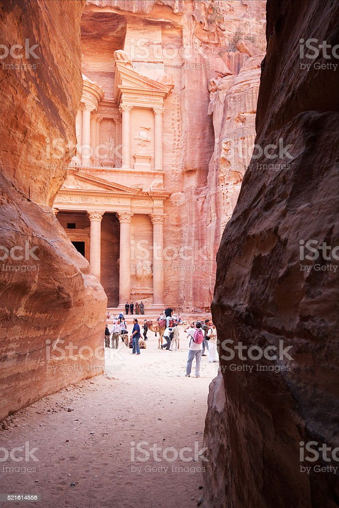 Narrow canyon Al-Siq leading to Petra, Jordan stock photo