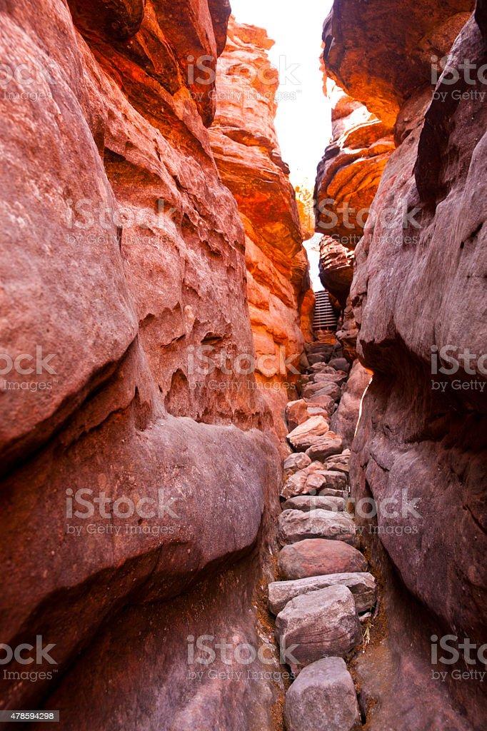 Narrow canyon in the Grampians stock photo