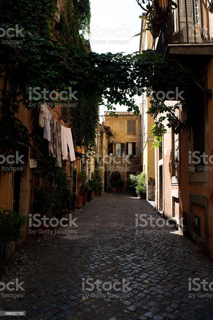 narrow cobbled streets in trastevere Rome stock photo