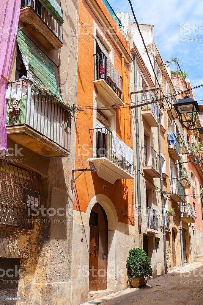Narrow empty street of Tarragona city, Spain stock photo