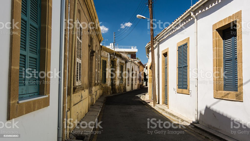 Narrow historic street in central Nicosia stock photo