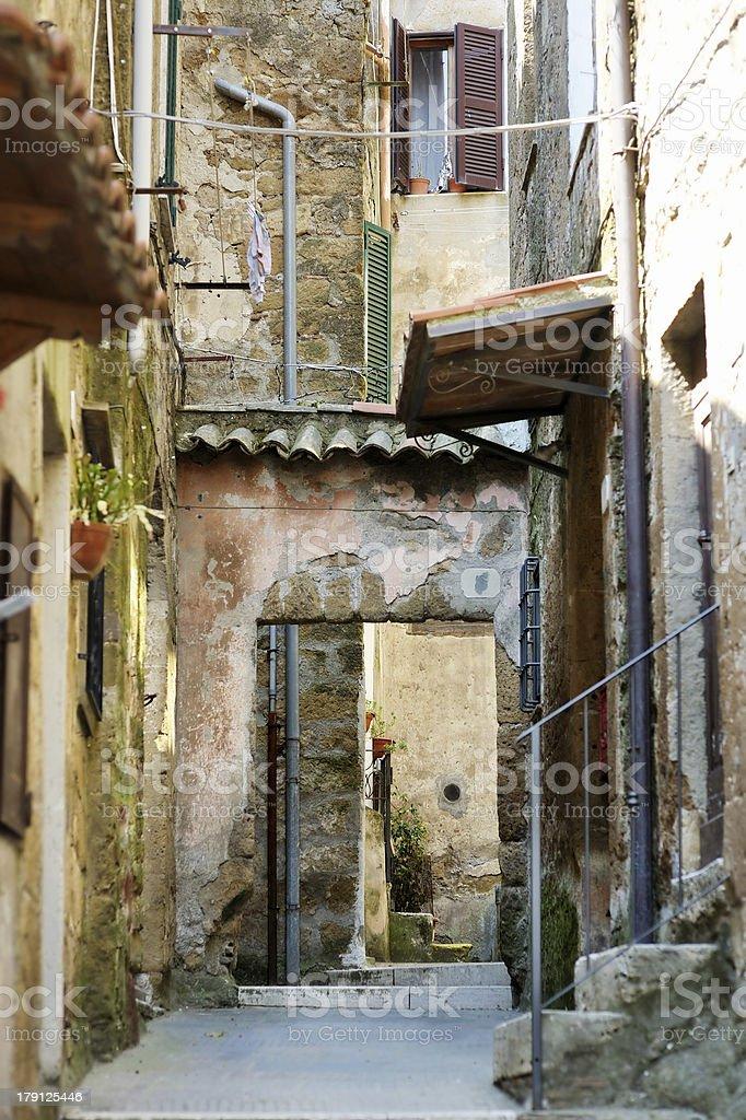 Narrow Italian street in Pitigliano stock photo