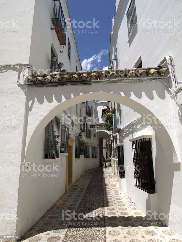 Narrow lane in Cordoba, Spain royalty-free stock photo