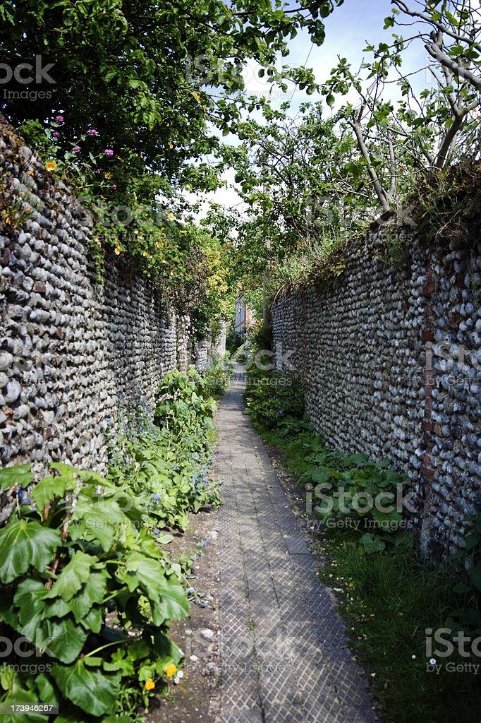 Narrow lane with flint stone walls in Norfolk village stock photo