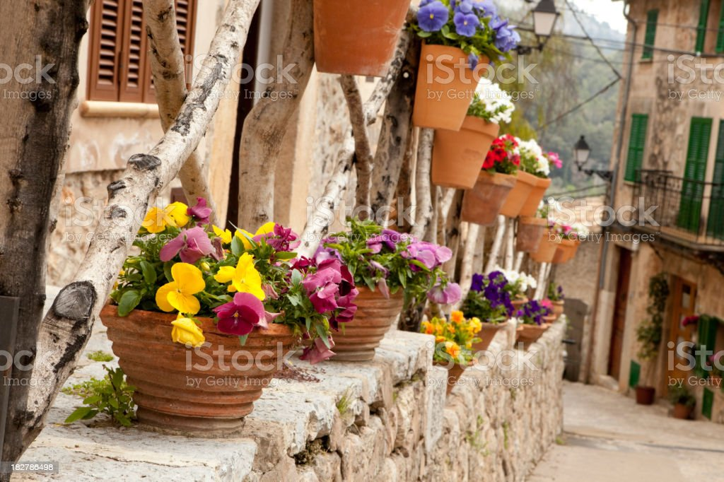 Narrow lanes with houses and flower pots in Valldemossa royalty-free stock photo