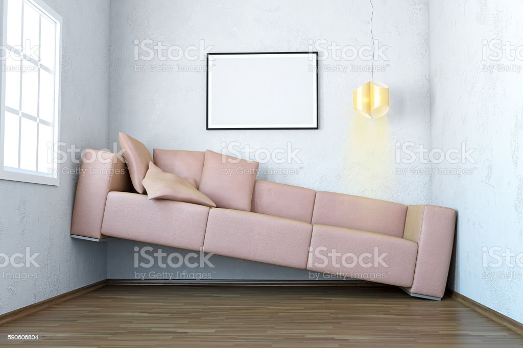 Narrow Living Room Interior Scene With Blank Frame stock photo