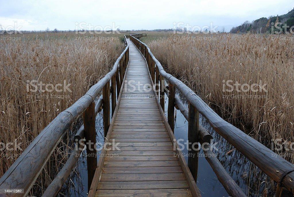 Narrow long bridge stock photo