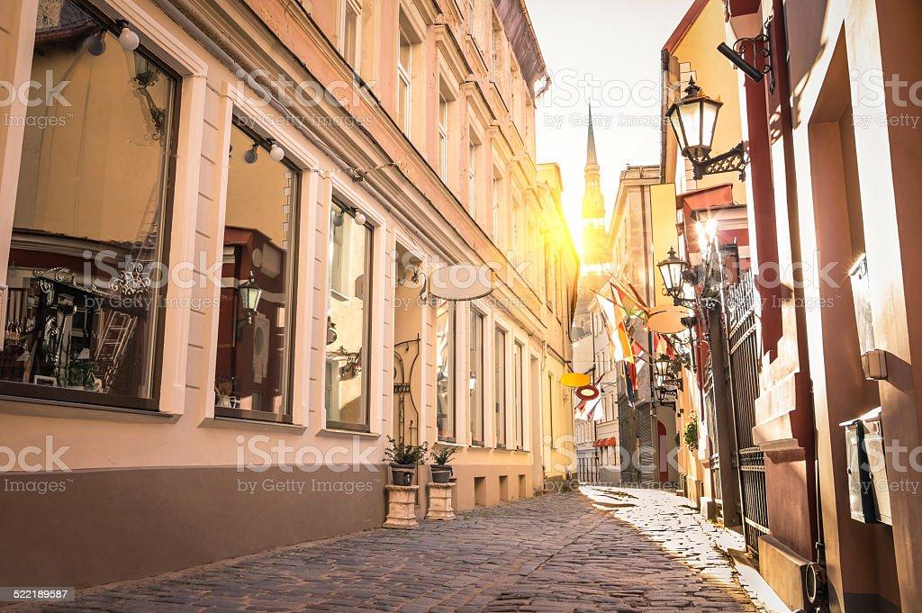 Narrow medieval street in old town Riga - Latvia stock photo