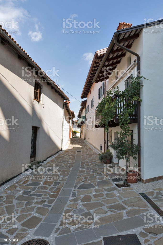 Narrow medieval street in Smartno village, Slovenia. stock photo