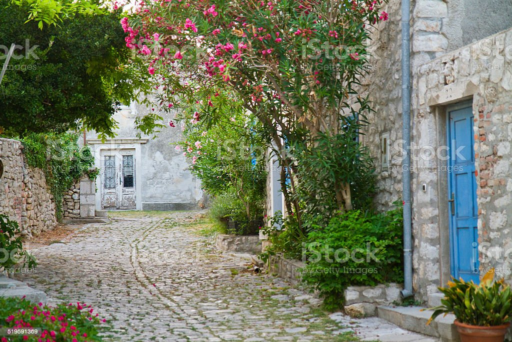 Narrow mediterranean street stock photo