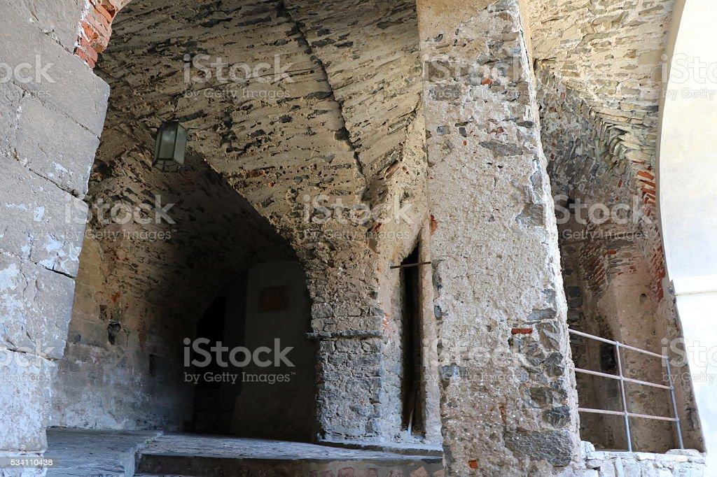 Narrow old alley in Porto Venere Liguria in Italy stock photo