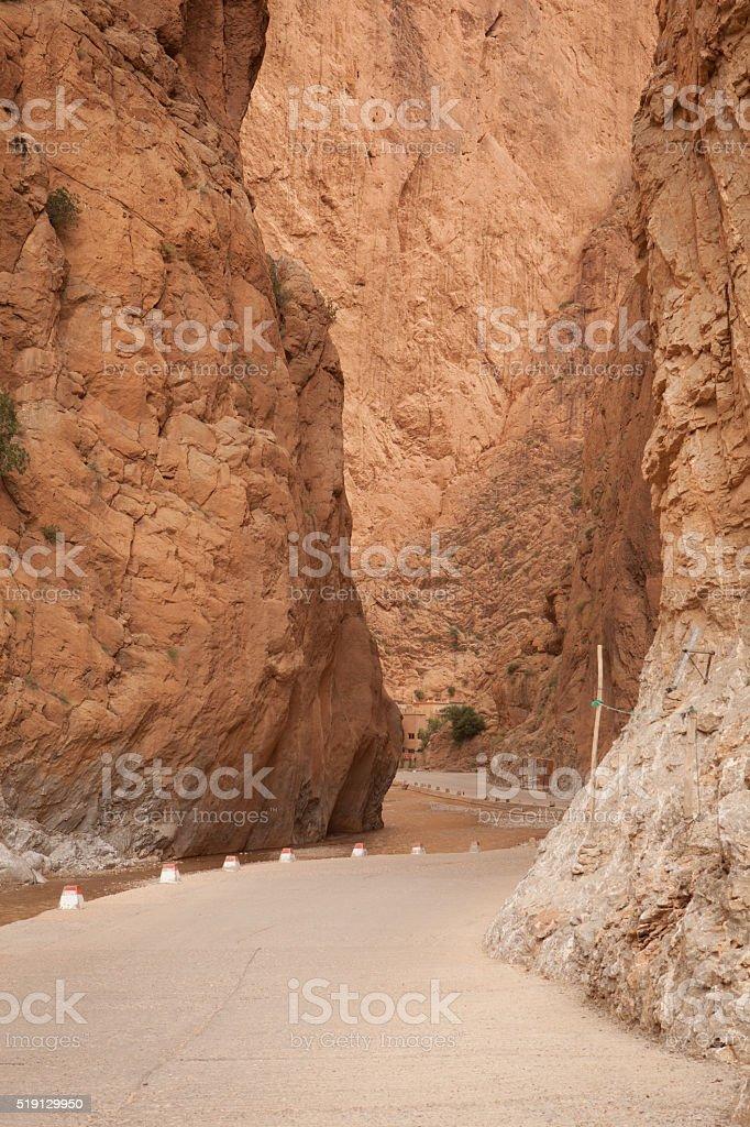 Narrow passageway through the Dades Gorge in Morocco stock photo