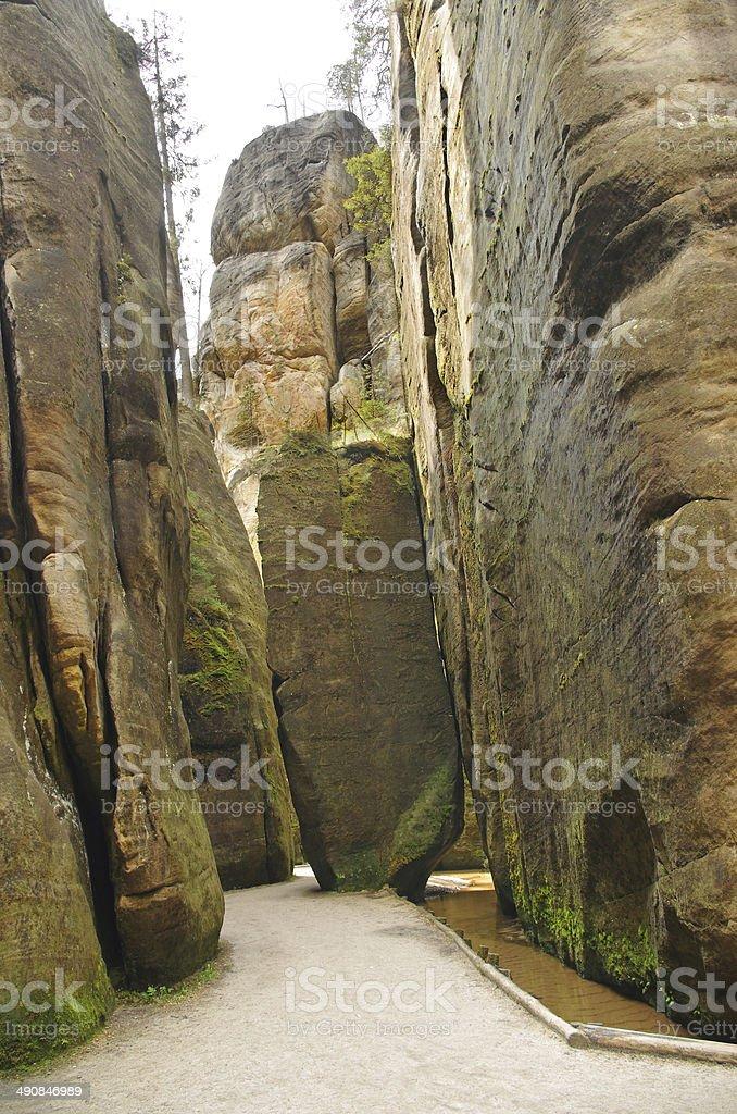 narrow path in Skalne Mesto Adrspach Czech Republic stock photo