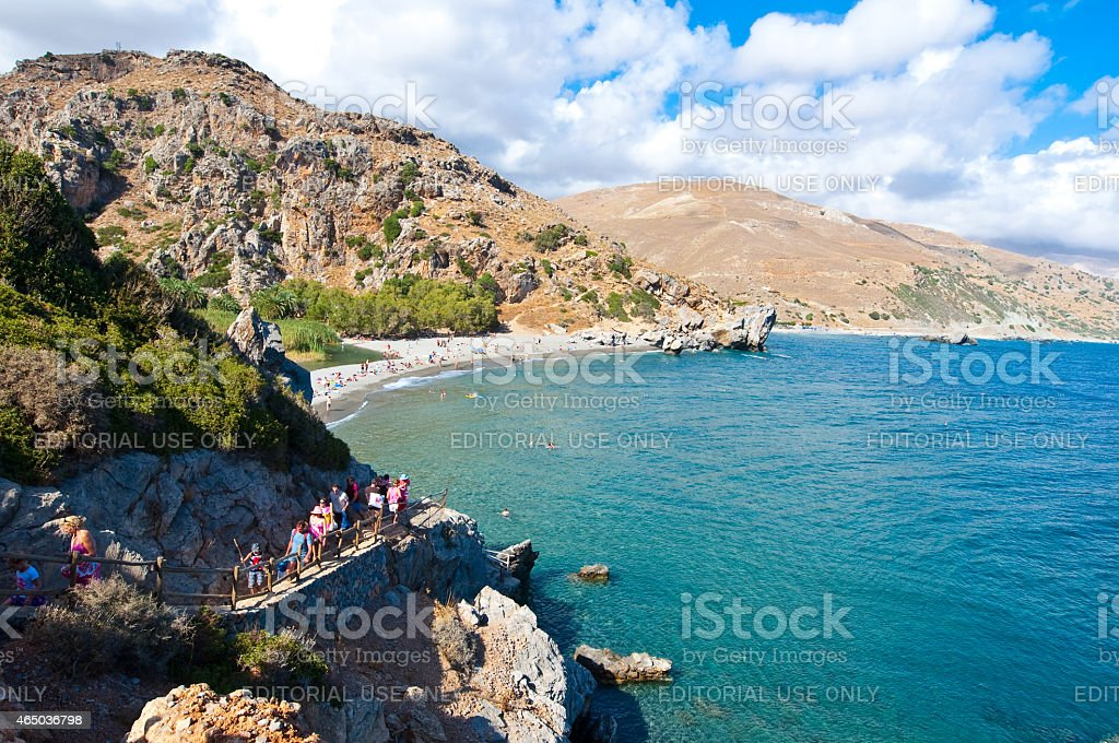 Narrow path to the Preveli Beach on Crete, Greece. stock photo