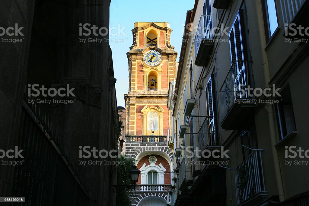 Narrow Pedestrian Street and Bell Tower, Sorrento, Italy. stock photo