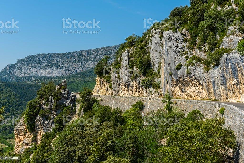 Narrow road near Verdon Gorge in France stock photo