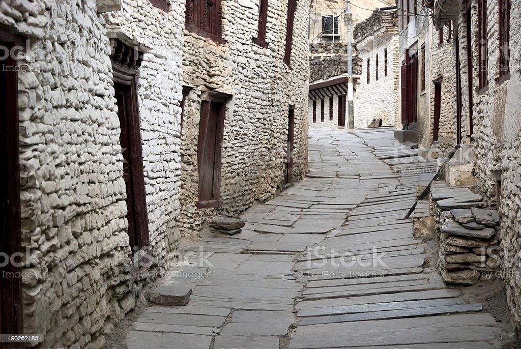 Narrow Road of Marpha stock photo