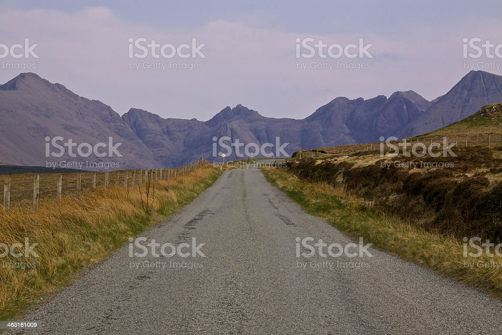 Narrow road on Isle of Skye stock photo