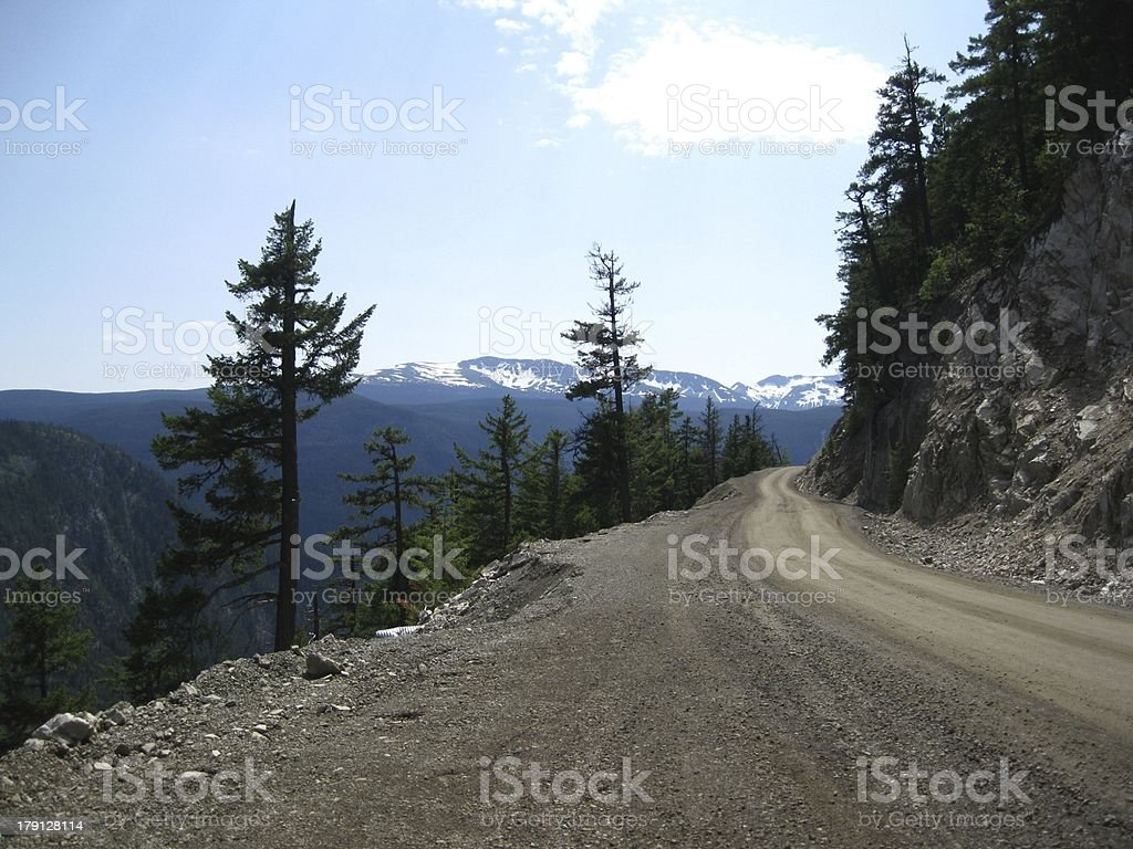 Narrow road way in the mountains royalty-free stock photo