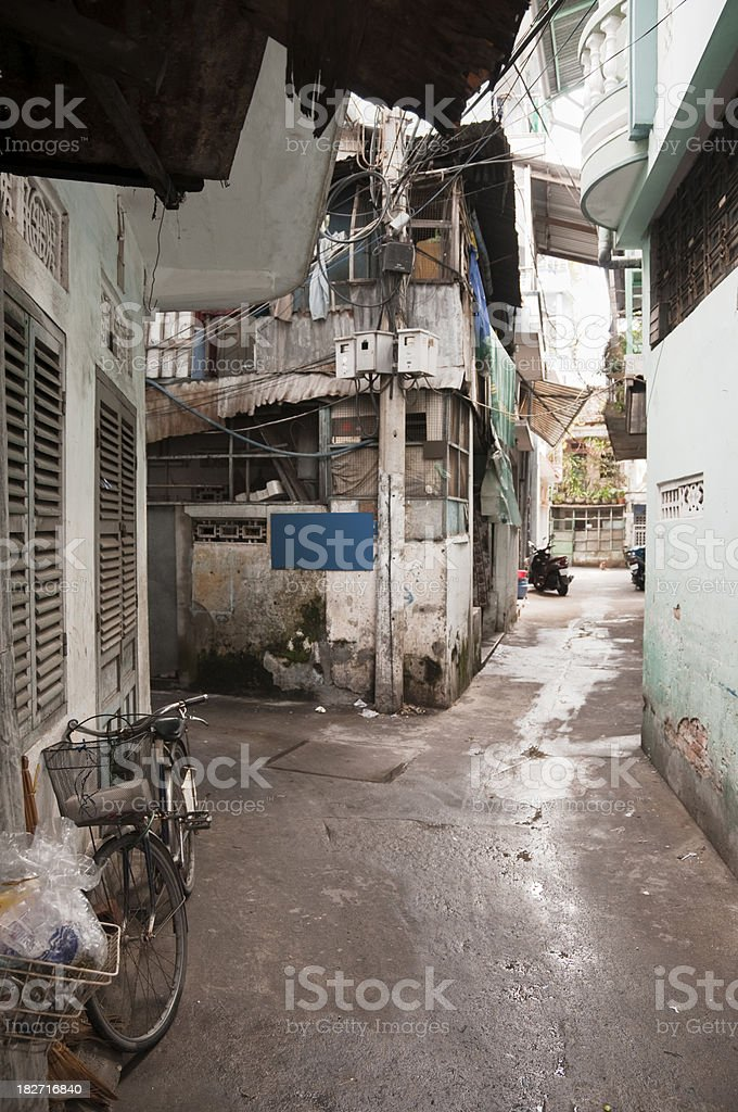 Narrow Side Street In Nha Trang, Vietnam royalty-free stock photo