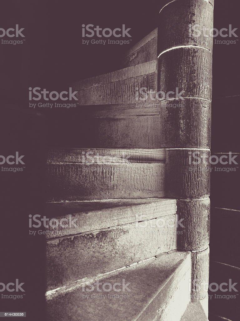 Narrow spiral stairs stock photo