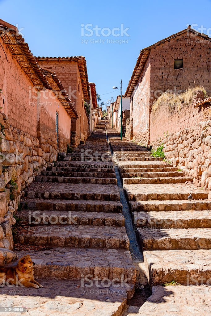 Narrow step streets at Chinchero, Peru stock photo