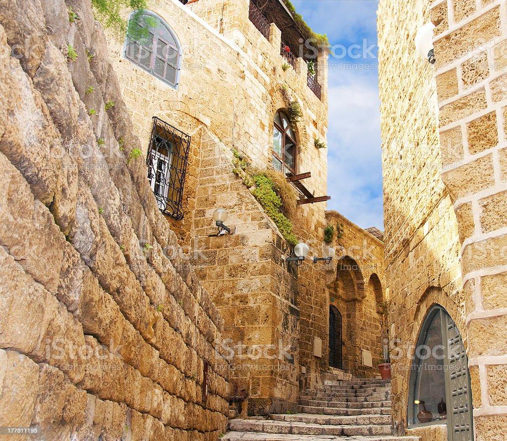 Narrow stone streets of ancient Tel Aviv royalty-free stock photo