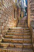 Narrow street and stairs in the Old Town in Dubrovnik, Croatia