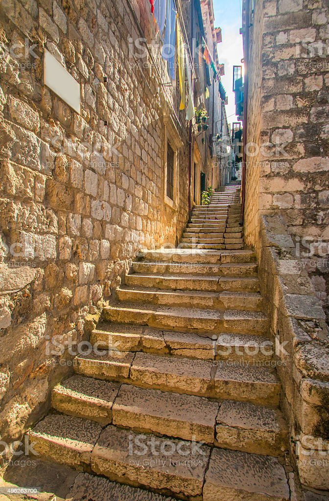 Narrow street and stairs in the Old Town in Dubrovnik, Croatia stock photo