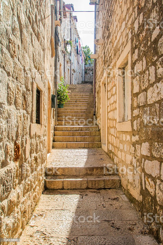 Narrow street and stairs in the Old Town in Dubrovnik stock photo