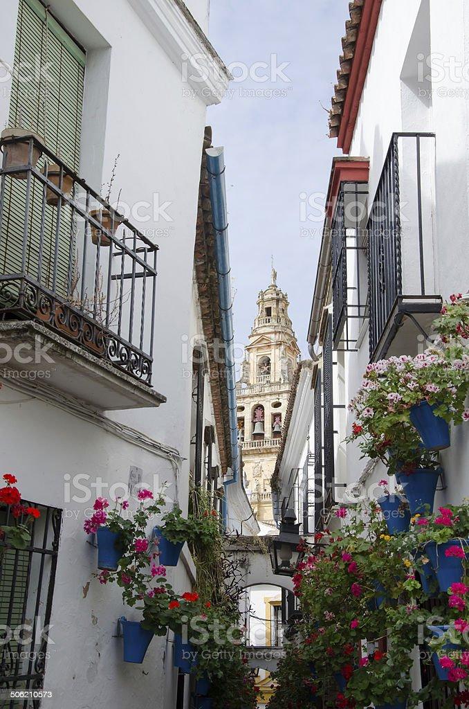 Narrow street at Cordoba stock photo