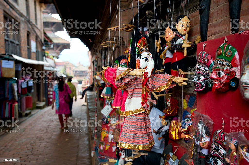 A narrow street at Kathmandu market stock photo