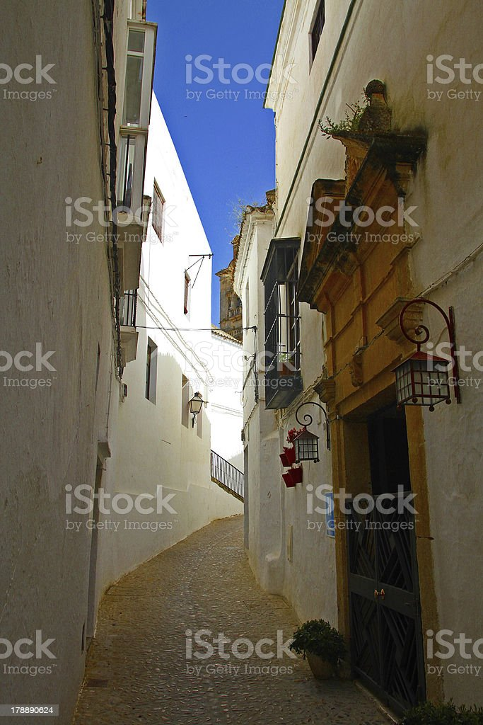 Narrow street in Arcos de la Frontera, Spain royalty-free stock photo