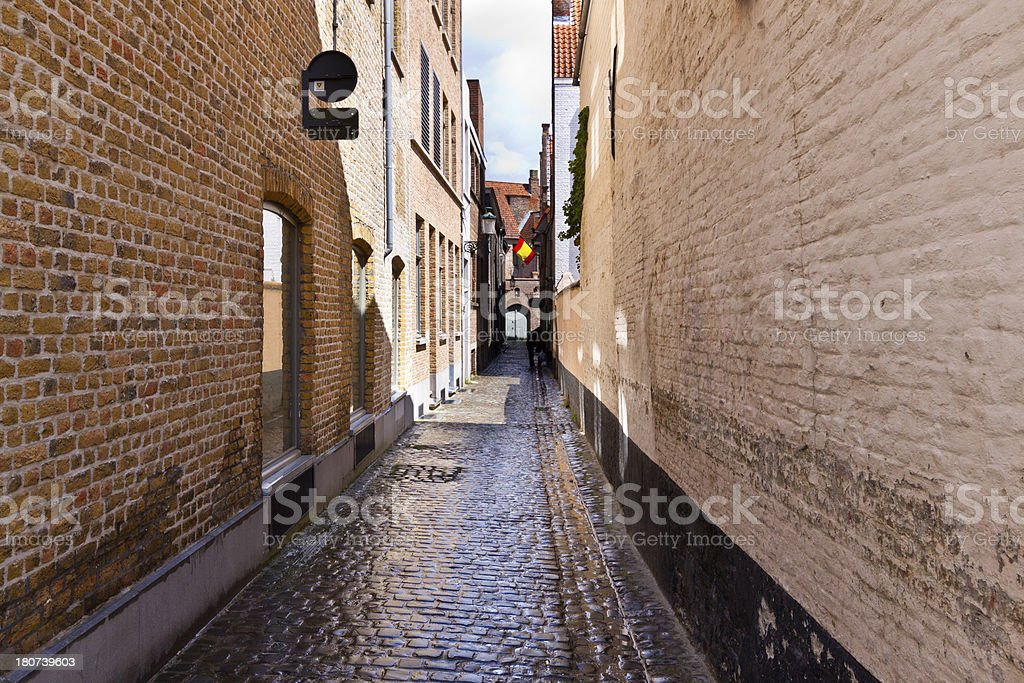 Narrow Street in Bruges. royalty-free stock photo