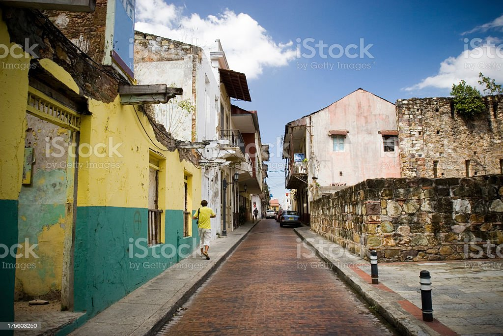 A narrow street in Casco Viejo royalty-free stock photo