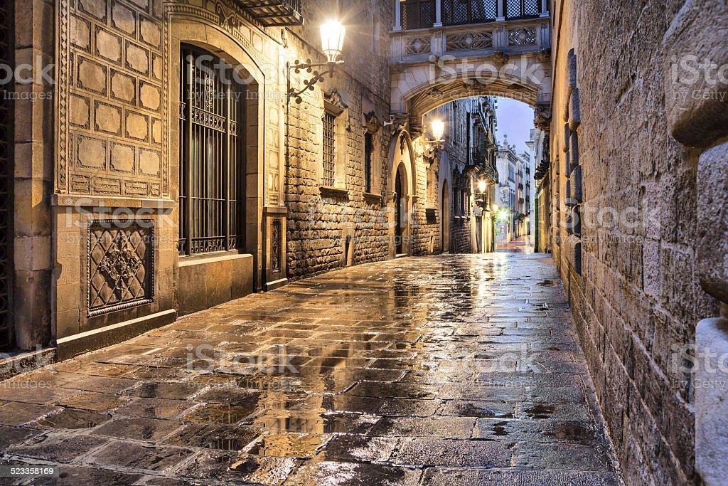 Narrow street in gothic quarter, Barcelona stock photo