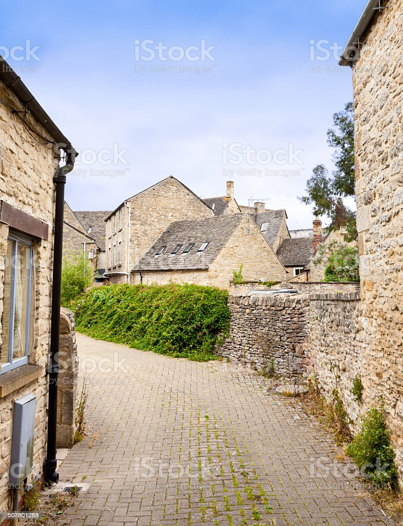 Narrow Street in Historic Center in Stow-on-the-Wold, Cotswold, England, UK. stock photo