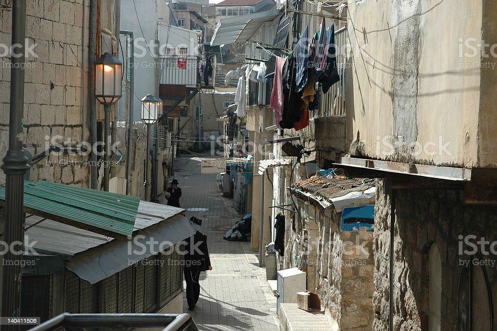 Narrow Street in Jerusalem stock photo
