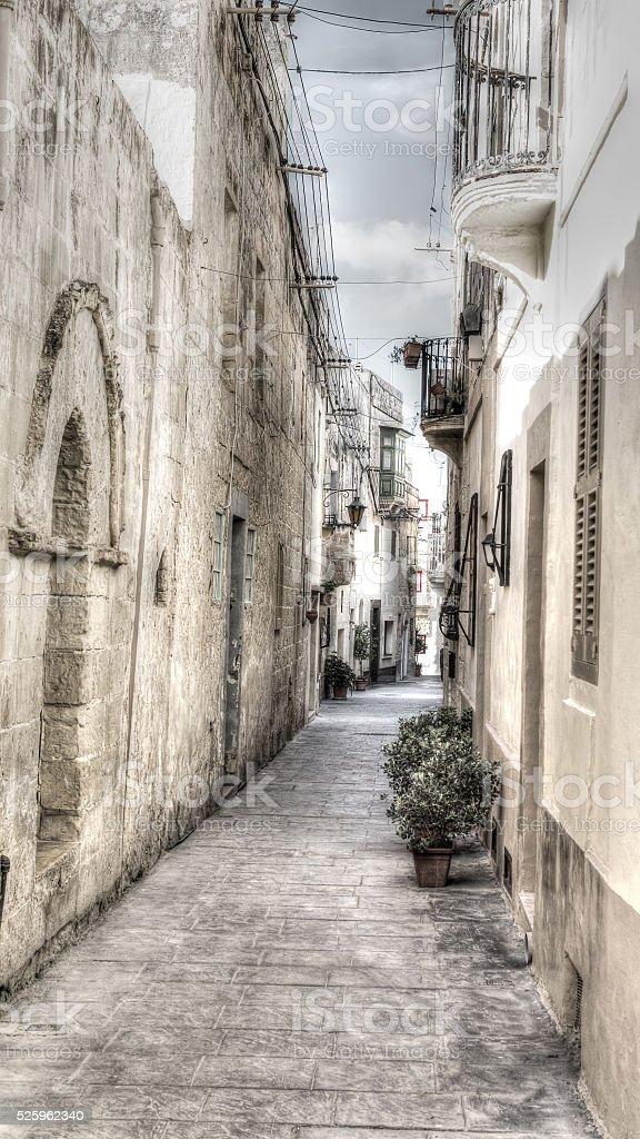 Narrow street in Malta stock photo
