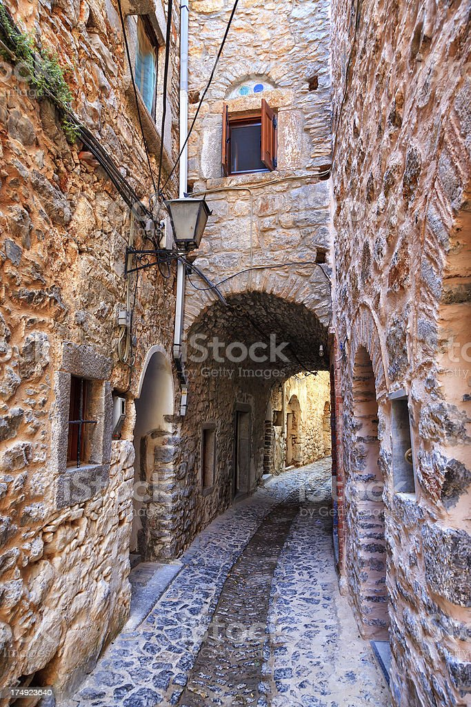 'Narrow street in Medieval town of Mesta, Chios, Greece' stock photo